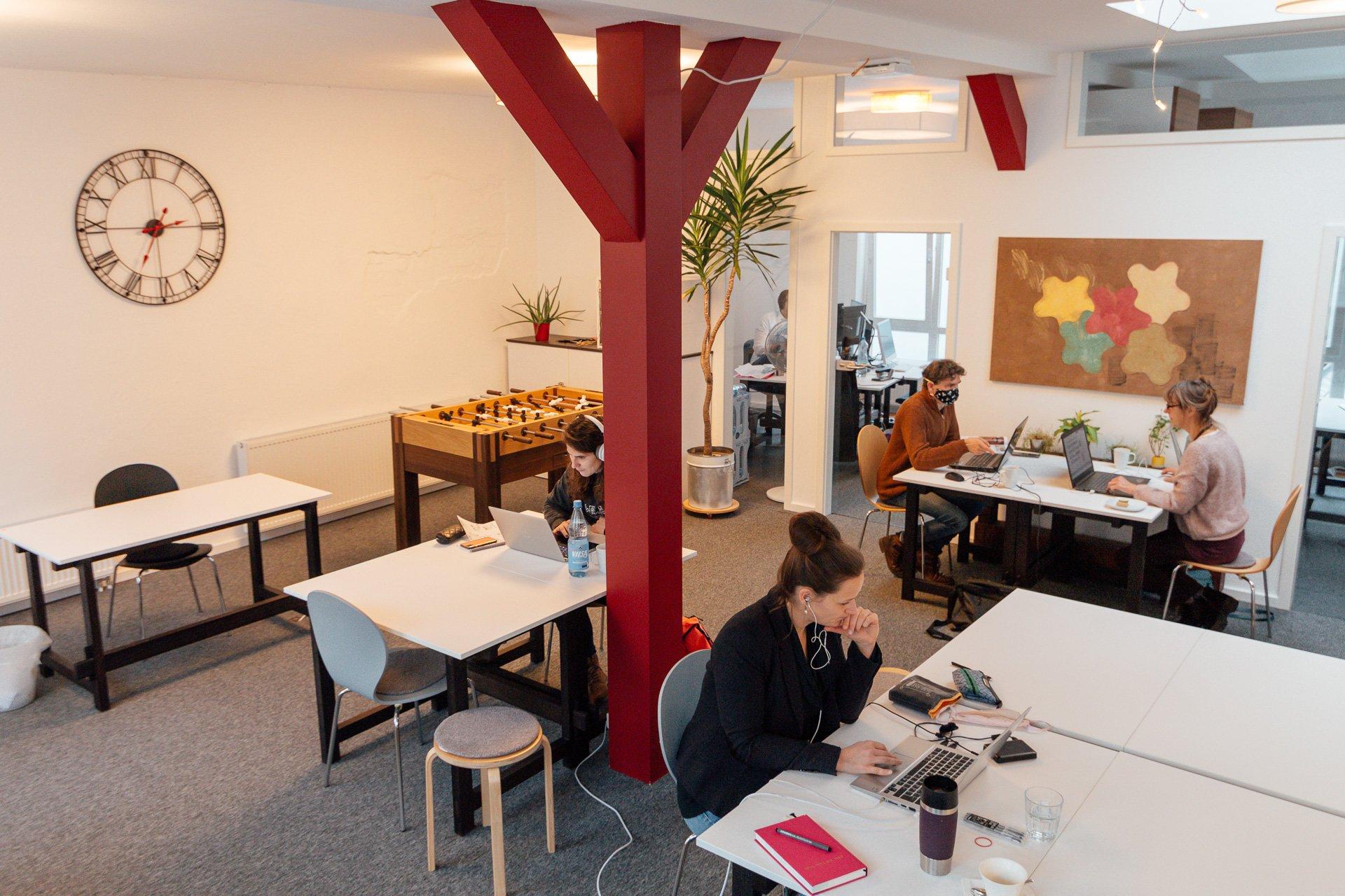 Open Space mit Flex Desk Bereich von oben